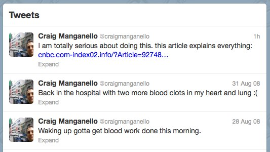 Craig Manganello craigmanganello on Twitter Spam After Death
