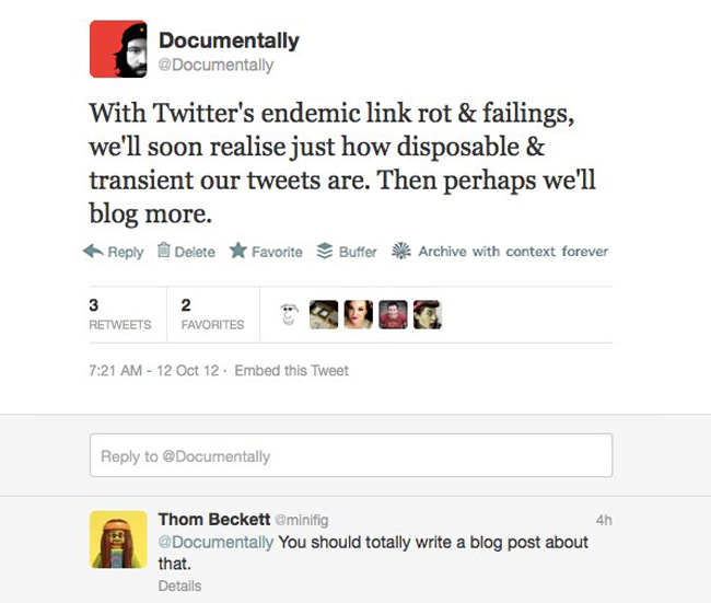 tweet on linkrot A tweet is not just a tweet   Linkrot and our digital history.