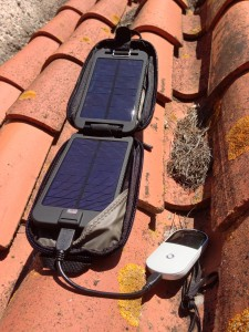 Solar Adventurer on Roof 225x300 Solar Powered WiFi Solution Using the Solarmonkey Adventurer