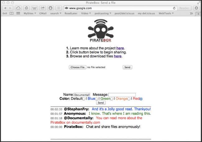 PirateBox  browser 650x457 PirateBox   Collaborate and Share, Anywhere.