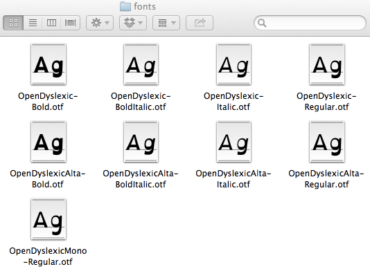 The font folder after adding fonts