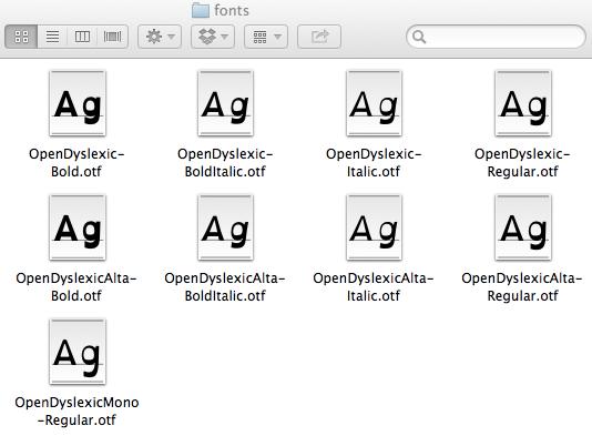 The font folder after adding fonts