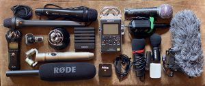 A selection of mics and recorders